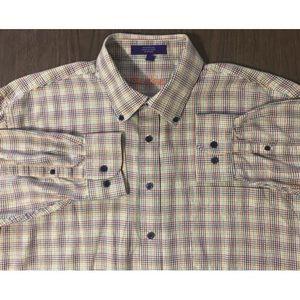 Alan Flusser Plaid Button Front Shirt Men XL